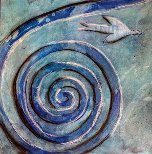 Spirale mit Vogel - Bild entstanden in einem Kurs mit Cambra
